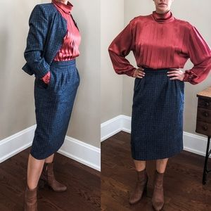 Vintage pinstripe blue midi librarian suit skirt 6